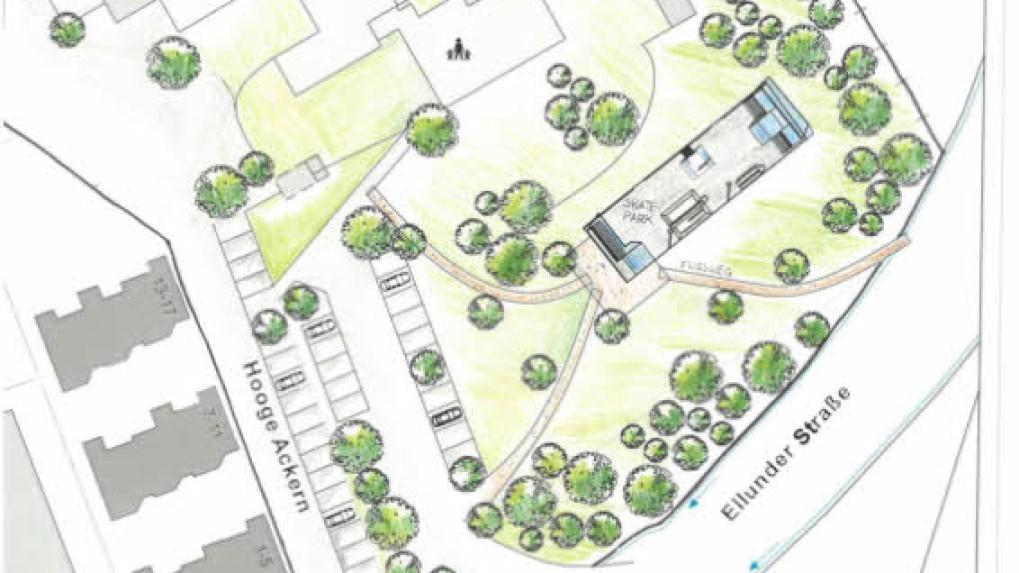 So sieht ein erster Entwurf für die Neugestaltung des Geländes am Dorfgemeinschaftshaus aus.